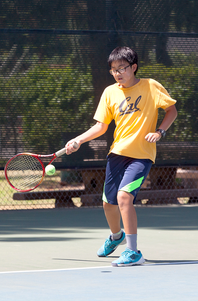 Summer Camp Tennis player in yellow shirt