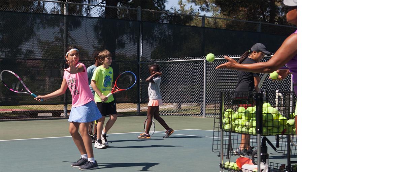 Kids practicing Badon Tennis Academy