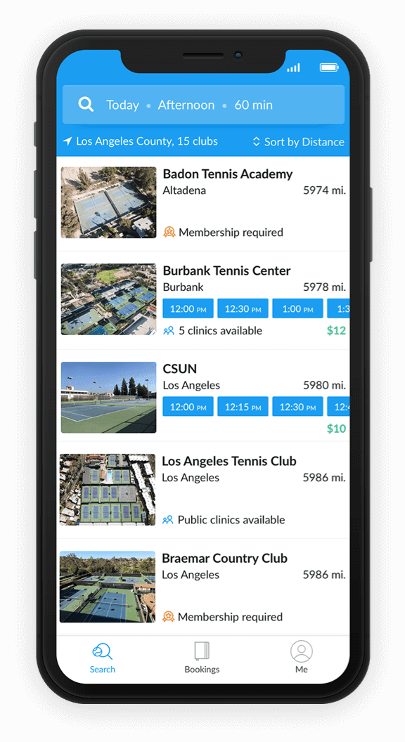 screen shot of kourts app with badon tennis academy at top of list