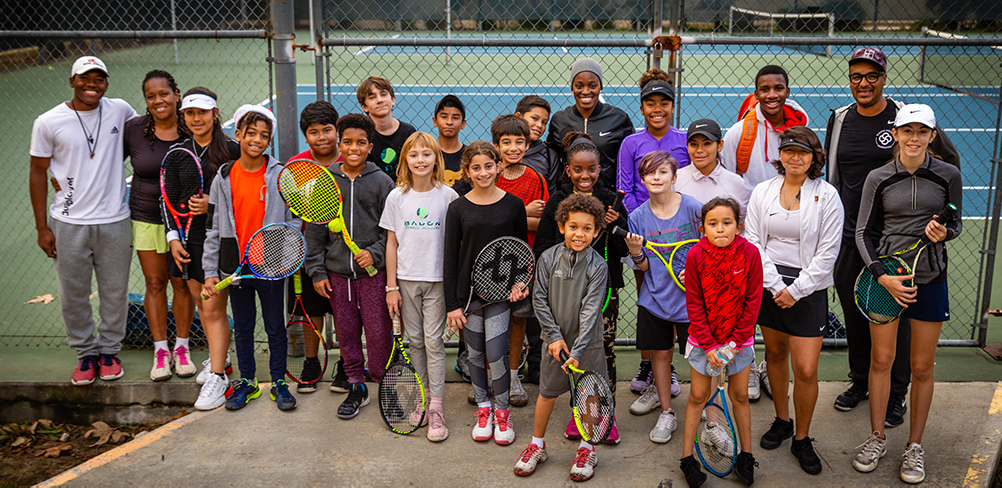 Sloane Stephens and tennis players at Loma Alta Park courts